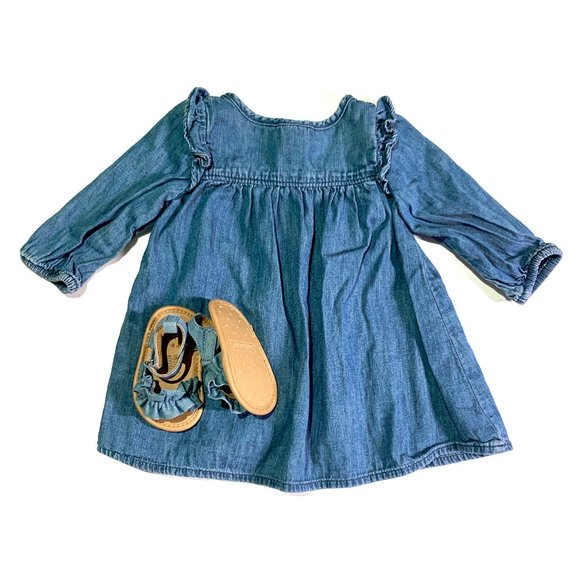 Baby Gap Chambray Baby Dress + Sandal Bundle